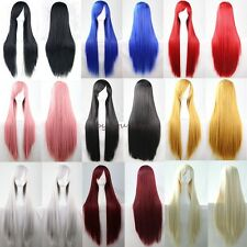 Anime Long Curly Straight Full Head Wigs Cosplay Costume Party Fancy Dress C17