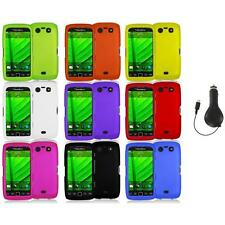 Color Hard Rubberized Case Cover+RET Charger for Blackberry Torch 9850 9860