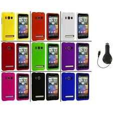 Color Hard Snap-On Rubberized Case Cover+RET Charger for HTC Sprint EVO 4G