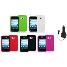 Silicone Color Soft Gel Case Cover+RET Charger for LG Optimus Elite LS696 Phone