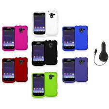Color Hard Rubberized Case Cover+RET Charger for ZTE Avid 4G N9120 Metro PCS