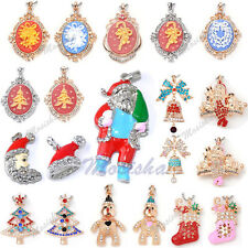 Christmas Xmas Tree Santa Claus Crutch Crystal Oval Cameo Pendant Fit Necklace