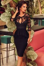 Women Fashion Lace Embroidery Top Cut-out Front Center Asymmetric Peplum Dress