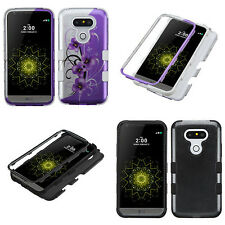 Dual Armor Hybrid Silver Vines Carbon Fiber Protector Cover Phone Case for LG G5