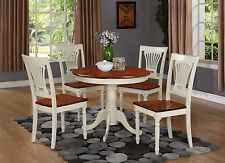 """3 PC or 5 PC ANTIQUE 36"""" DINETTE DINING TABLE SET WOODEN SEAT CHAIRS IN WHITE"""