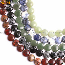 """Natural Gemstone Genuine Stone Beads For Jewelry Making 15"""" Cabocho Coin 20mm"""