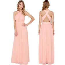 Sexy Cross Backless High Waist Pleated Cocktail Bridesmaid Maxi Long Gown Dress