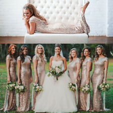 Sequins Long Dress Formal Prom Cocktail Party Ball Gown Evening Bridesmaid Dress