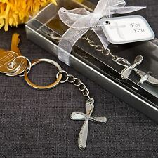 6 X Beaded Cross Keyring Baptism Christening Confirmation Wedding Party Favours