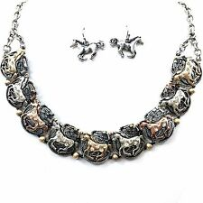 Western Cowgirl Rhinestone Link Running Horse Choker Chain Necklace Earring Set