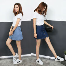 Trendy Women Blue High Waist Denim Jean Wiggle Pencil Bandage Mini Skater Skirts