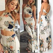 2Piece Set Lady Sleeveless Halter Dress Backless Floral Crop Top+Long Maxi Skirt