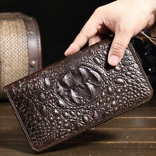 New Men's Genuine Leather Long Wallet Zipper Purse Checkbook Wristlet Handbag