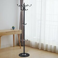 "15 Hooks 70"" Metal Clothes Coat Hat Stand Tree Holder Hanger Rack w/ Marble Base"