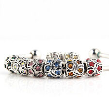 Crystal Spacer Barrel Follow Star Open Heart Love European Charm Bead Bracelet