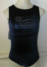 Gymnastics Dance Leotard Navy Stretch Velvet Diamante Swirls Costume Gym