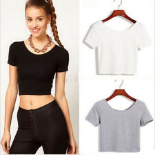 Sexy Lady Crop Tops Cropped Scoop Neck Casual Short Sleeve Blouse Vest T-Shirt
