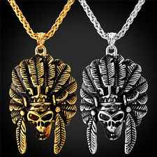 Men's Jewelry Tribe Indian Chief Head Skull Pendant Necklace Punk Halloween Gift