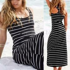 Women Sleeveless Scoop Neck Stripe Bandage Bodycon Long Maxi Dress Tank Sundress