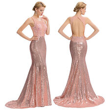 Long Sequined Mermaid Pageant Prom Dress Evening Ball Gown Cocktail Party Dress