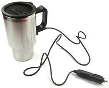12V Stainless Steel Travel Heated 450ml Coffee Mug Cup With Car Charger