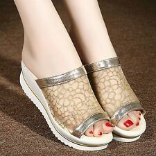Women's Wedge Heel Sandals Slip On Slippers Peep Toe Mesh Slides Platform Shoes