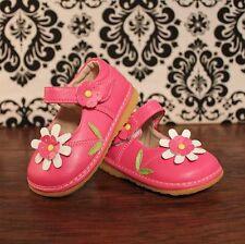 Hot Pink w White Flower Girls Mary Jane Squeaky Shoes, Size 3 4 5 6 7 8 9