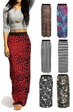 Womens Jersey Long Stretch Maxi Print Pattern Gypsy Summer Bodycon Skirt Dress