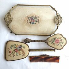 Vintage REGENT OF LONDON Brass Embroidered Vanity Set With Tray Brush Mirror