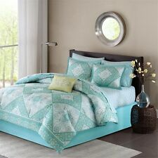 Blue and Green Paisley Complete Bed Set W/Pillow, Shams, Bed Skirt & Sheet Set
