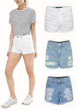 Womens Ripped High Waist Denim Summer Hot Pants Shorts Size UK 6-16