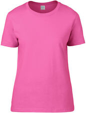 Gildan Women Adult Short Sleeve Taped Neck Tee Premium Ringspun Cotton T-Shirt
