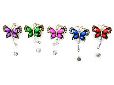 New Bling Rhinestone Colored Butterfly Badge Reel Retractable ID Badge Holder