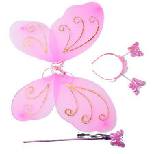 3pcs Girls Fairy Costume Butterfly Party Wings Wand Princess Headband Hot Sale