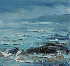 ORIGINAL OIL ON CANVAS SIGNED STORMY ROCKY IMPRESSIONIST SEASCAPE  PAINTING*