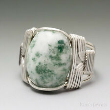 Tree Agate Sterling Silver Wire Wrapped Cabochon Ring