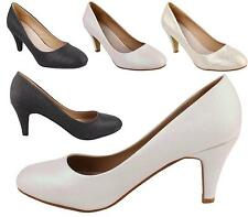 NEW WOMENS LADIES MID HEEL PARTY PROM BRIDAL SMART WORK COURT SHOES SIZE 3-8