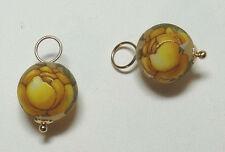 10mm Yellow Rose Tensha INTERCHANGEABLE Earring Charms STERLING, ROSE or YG