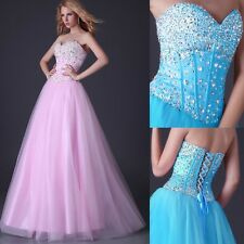 Quinceanera Tulle Bridesmaid Evening Beaded Formal Party Cocktail Dress Prom New