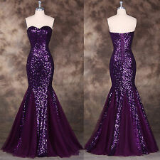 Mermaid Long Formal Gown Ball Party Evening Prom Cocktail Dress Sequined Wedding