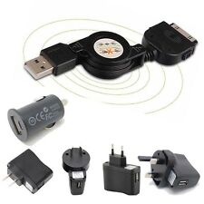 1A Charger+Retractable USB Data SYNC Cable for iPod iPhone 4S 4 3GS Touch nano