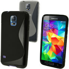 S Line TPU Gel Skin Case Cover for Samsung Galaxy S5 MINI SM-G800 + Screen Prot