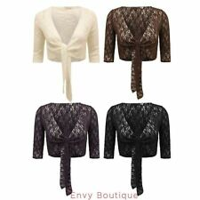 WOMENS LADIES NEW CROCHET KNITTED BOLERO SHRUG TIE UP CROCHET CARDIGAN TOP