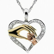 Mother's Day Mom Hold Kids Children Hand Love Heart Pendant Charm Chain Necklace
