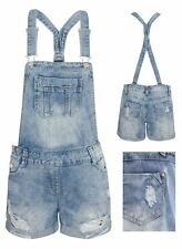 Womens Ripped Denim Jean Playsuit Distressed Turn Up Dungaree Shorts