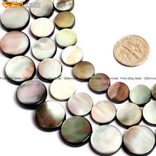 """Natural Flat Coin Black Lip Shell Loose Beads For Jewelry Making 15"""" Jewely Bead"""