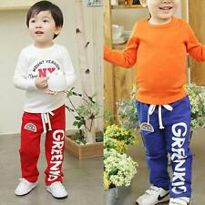 Kids Baby Boys Cotton Rainbow Pattern Long Pants Casual Trousers Bottoms 2-6Y