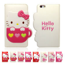 Hello Kitty Enamel Flip Leather Card Wallet Cover Case For Apple iPhone SE