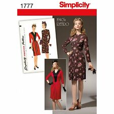 Simplicity 1777 Sewing pattern 1940's Vintage style retro Dress