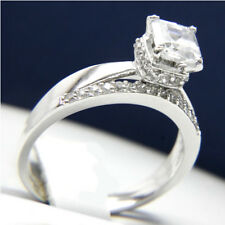 New Sterling Silver 1.24 CT Solitaire CZ Engagement Wedding Band Bridal Ring Set
